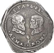 1178: Papal coins and medals: Clement VII, 1523-1534. Ducato n. y. (1527), Rome. Muntoni 21. Of greatest rarity and high historical significance. Very fine. Estimate: 10,000 euros. Hammer price: 26,000 euros.