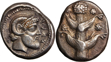 Lot 11121, CYRENAICA. Cyrene. AR Tetradrachm (16.39 Gms), Ca. 480-435 B.C. Realized $32,900.