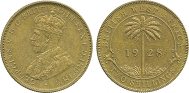 3202: British West AFRICA. George V, Brass 2-Shillings, 1928. KM 13b. Semi-prooflike, about uncirculated. Starting price 4,800 GBP. Sold for: 10,000 GBP.