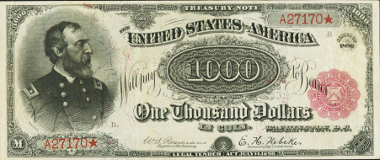 17127: Fr. 379b $1000 1890 Treasury Note PCGS Extremely Fine 40. Realized: $3,290,000.