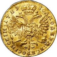 30237: Peter II gold Ducat 1729, Red mint, Bitkin 7 (no hair ribbon, 5 scallops) (R2), Diakov 6, IT 6 (50 Rub), Petr 1 (R-50), AU50 NGC. Sold for $205,625.