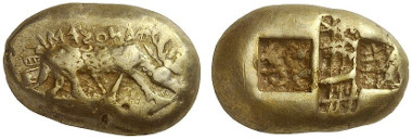 252: Phanes (Ephesos / Ionia). Electrum stater, Milesian standard. BMC 1 (same dies = Weidauer 39). Extremely rare. Extremely fine. From Rosen Collection, New York. Starting price: 150,000 euros. Hammer price: 280,000 euros.