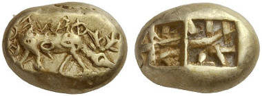 253: Phanes (Ephesos / Ionia). Electrum trite, Milesian standard. Extremely rare. Extremely fine. From Rosen Collection, New York. Starting price: 24,000 euros. / Hammer price: 55,000 euros.
