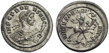 645: Probus. Denarius, no year, Ticinum. Probably unpublished. Starting price: 1,200 euros. Hammer price: 12,500 euros.