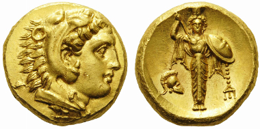 13938. Mysia, Pergamon. 334-332 BC. Stater. Gulbenkian 699 = Jameson 2580. SNG France 1557 = de Luynes 2492. Extremely rare, one of a very few examples known. Very minor flan fault on the obverse, otherwise, good extremely fine.