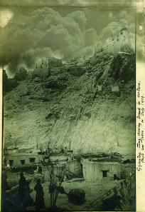 A July 1904 photo of Gyantse Jong showing the breach made by shelling.