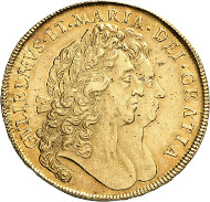 Lot 6634: GREAT BRITAIN. William III and Mary (1688-1694). 5 guineas, 1692, London. Fb. 299. Acquired from Leu, Zurich 1999. Extremely fine. Estimate: 6,000,- euros. Hammer price: 60,000,- euros.