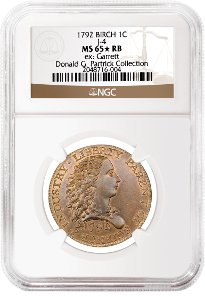 1792 Judd-4 Pattern Birch Cent graded NGC MS 65 RB. Realized price: $2,585,000.