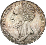 Lot 647: NETHERLANDS - KINGDOM. William II, 1840-1849. 1 gulden 1840, Utrecht. Schulman 518. Ex Horn Collection. Extremely rare. Extremely fine to brilliant uncirculated. Estimate: 30,000,- euros. Hammer price: 120,000,- euros.