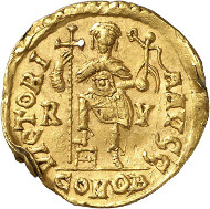 Lot 727: GLYCERIUS, 473-474. Solidus, Ravenna. Extremely rare. About extremely fine. Estimate: 30,000,- euros. Hammer price: 65,000 euros.