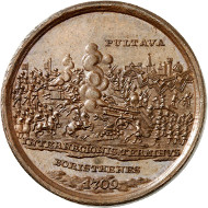 Lot 5010: RUSSIA. Peter I, 1682/89-1725. Bronze medal 1709 (later restrike) on the Battle of Poltava. Extremely fine to brilliant uncirculated. Estimate: 100,- euros. Hammer price: 300,- euros.