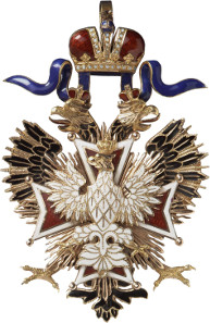 Lot 5261: RUSSIA. Orders and Decorations: Order of the White Eagle. Set of the order's decoration and breast star, not dated (around 1910). I-II. Estimate: 25,000,- euros. Hammer price: 22,000,- euros.