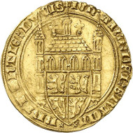 Lot 1429: BELGIUM / BRABANT. Joan, 1383-1406. Tourelle d'or n. y., Louvain. Extremely rare. Very fine. Estimate: 15,000,- euros. Hammer price: 28,000,- euros.