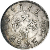Lot 5968: CHINA. 1 dollar year 3 (1911), Tientsin. Pattern in silver. Very rare. Graded SP62 by PCGS. Extremely fine to FDC. Estimate: 50,000,- euros. Hammer price: 75,000,- euros.