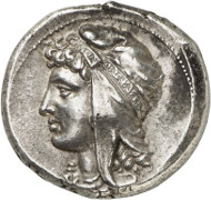 Lot 7079: GREEK COINS. Siculo-Punians (Siciliy). Tetradrachm, 320-310, mobile mint. Very rare. Extremely fine. Estimate: 25,000,- euros. Hammer price: 180,000,- euros.
