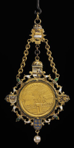 The Portrait medallion by Alessandro Abondio of Maximilian III, Archduke of Austria, worn as a pendant. Vienna, 1612-1618. Enamelled gold with peal. (c) The Trustees of the British Museum.