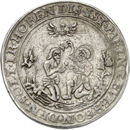 Lot 420: POPKEN COLLECTION. Magdeburg. Thick double thaler n. d. (1549) on the Augsburg Interim. Probably unique specimen. Very fine. Estimate: 4,000,- euros. Hammer price: 11,000,- euros.