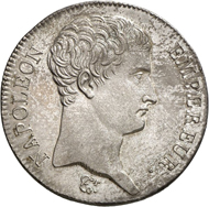 Nr. 1730: FRANCE. Napoleon I, 1804-1814, 1815. 5 francs 1806, BB, Strasbourg. Very rare. First strike, nearly FDC. Estimate: 3,000,- euros. Hammer price: 26,000,- euros.