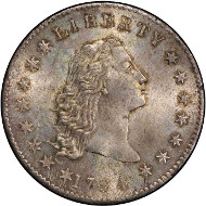 Lot 2041: 1794 Flowing Hair Silver Dollar. Bowers Borckardt-1, Bolender-1. Rarity-4. Mint State-66+ (PCGS). Price Realized: $4,993,750.00.