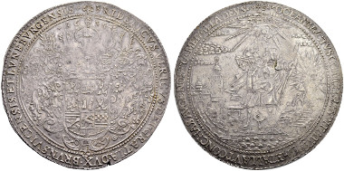 Lot 2634: Friedrich Ulrich, 1613-1634 6 Taler 1634. Zellerfeld, Silver from the St. Jakob Mine. Welter 1037. Duve 14 II. Müseler 10.2/55 c. Dav. 61. Of high rarity. Very fine. Planchet fault on reverse and on edge. Estimate: 10'000 CHF. Result: 17'000 CHF.