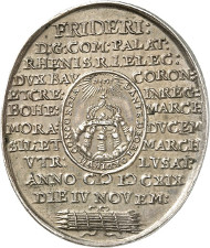 Lot 1706: HRE. Frederick Elector Palatine, 1619-1621. Struck oval-shaped silver medal, 1619, by Chr. Maler on the coronation as King of Bohemia. Extremely rare. Extremely fine to FDC. Estimate: 12,500,- euros. Hammer price: 21,000,- euros.
