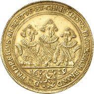 Lot 4209: BRANDENBURG-ANSBACH. Frederick, Albrecht and Christian, 1625-1634. 5 ducats 1629, Nuremberg. Unique. Extremely fine. Estimate: 20,000,- euros. Hammer price: 38,000,- euros.