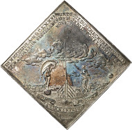 Lot 3626: SAXONY. John George II, 1656-1680. Triple reichsthalerklippe 1676, Dresden, on the bird shooting competition in Dresden on July 23, where the electoral prince (later to be Prince Elector John George III) fired the decisive shot, thus making his mother Magdalena Sibylla become queen of shooters. Ex Peus Auction 364 (2000), 1671. Very rare. Extremely fine to FDC. Estimate: 20,000,- euros. Hammer price: 38,000 euros.
