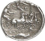 Lot 8117: GREEKS. Sicily. Catane. Tetradrachm, c. 405/402, signed by Herakleidas. Ex Jameson Coll. 547. Very rare. Extremely fine. Estimate: 100,000,- euros. Hammer price: 200,000,- euros.
