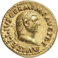 Lot 8642: ROMAN IMPERIAL TIMES. Vitellius. Aureus, Rome. Lanz 135 (2007), 569. Very rare. Tiny scratches, expertly restored. Extremely fine. Estimate: 50,000,- euros. Hammer price: 105,000,- euros.
