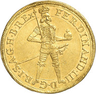 Lot 4609: HRE. Ferdinand III, 1637-1657. Double ducat 1653, St. Veit. Extremely rare. Extremely fine to FDC / FDC. Estimate: 5,000,- euros. Hammer price: 13,000,- euros.