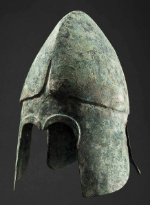 Chalcidian bronze helmet dating from the fourth century B.C. HP: 18,000 Euros. Copyright Hermann Historica oHG 2015.