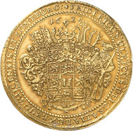 Lot 43: BRUNSWICK-WOLFENBÜTTEL. Frederick Ulrich, 1613-1634. Gold löser of 17 gold gulden 1625, Goslar or Zellerfeld. Made of metal mined from the St. Jakob Mine at Lautenthal. Specimen from the Pogge and Vogelsang Collection. Unique. Extremely fine. Estimate: 150,000,- GBP. Hammer price: 650,000,- GBP.