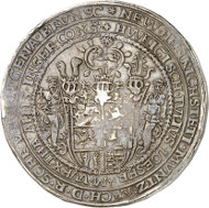 Lot 8: BRUNSWICK-WOLFENBÜTTEL. Julius, 1568-1589. Löser of 10 reichsthaler 1583, Heinrichstadt (Wolfenbüttel), with struck cipher of value. Extremely rare. Very fine. Estimate: 20,000,- GBP. Hammer price: 46,000,- GBP.