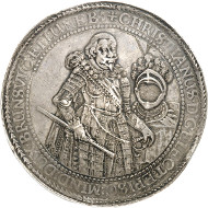 Lot 115: BRUNSWICK-LÜNEBURG-CELLE. Christian, Bishop of Minden, 1611-1633. Löser of 10 reichsthaler 1625, Clausthal(?). Extremely rare. Extremely fine. Estimate: 50,000,- GBP. Hammer price: 160,000,- GBP.