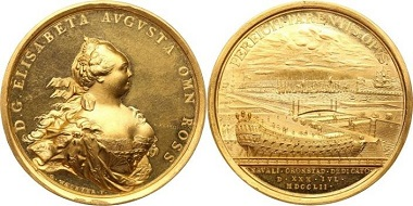The extremely rare Gold Medal commemorating the Opening of the Naval Dockyard in Kronstadt from 1752 that sold for $327,600 ... prompting the auctioneer to give the next lot to the buyer for free and generating the (possibly first ever) 'gratis' to appear on a Prices Realised.