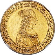Lot 30904: Swedish Possessions, Riga, Christina, 4 ducats, 1646. Hagander-184, Neumann-43, Ahlström-32 (XR). AU53 NGC. Realized: 64,625.