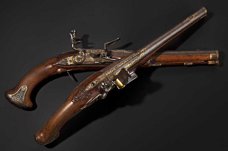 Lot 5448: Silver-mounted flintlock pistols, Ivan Permiak, St. Petersburg, 1770. Sold at 80,000 euros.