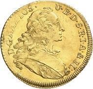 Lot 3118: GERMANY / BAVARIA. Maximilian III, 1745-1777. Ducat 1762, Munich, Isar river gold. Extremely rare year. Extremely fine. Estimate: 15,000 euros. Hammer price: 32,000 euros.
