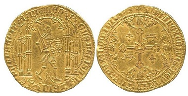 GAL007: Edward the Black Prince of Aquitaine (1362-1372), Gold Guyennois D'or, Bordeaux mint. Beresford-Jones 91/97; cf. Schneider III-32; Elias 141 RR. Very fine, very rare. £18,000.