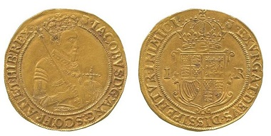 BH038: James I (1603-1625), gold Sovereign of Twenty Shillings, first coinage (1603-4). Schneider II-1; N.2066; S.2608. Very fine and rare. £25,000.