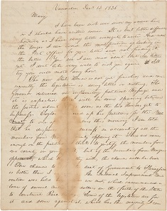 A Highly Important Abraham Lincoln Letter to His First Fiancée, Mary Owens. This December 13, 1836 letter is one of our 16th president's earliest surviving missives. It is the first of three written to Owens, and is considered very significant by Lincoln scholars for the insight it gives us into Lincoln the man.