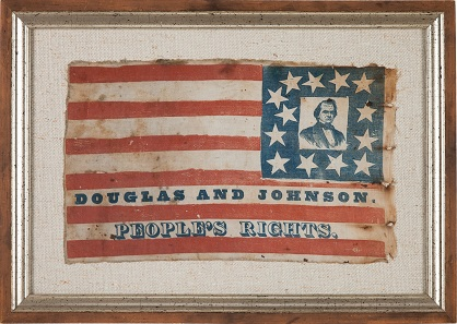 Stephen A. Douglas: Wonderful Portrait Flag. 13.5