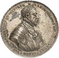 Lot 4634: HRE. Maximilian II, 1564-1576. Silver medal 1566, probably from the workshop of Nickel Milicz, Joachimstal. Very rare. Original striking. Extremely fine. Estimate: 3,500,- euros. Hammer price: 11,000,- euros.