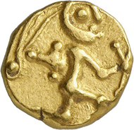 Lot 14: BOII (Celts). Gold stater, 2nd/1st cent. BC. Very rare. Very fine. Estimate: 1,250,- euros. Hammer price: 8,500,- euros.