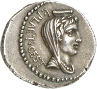 Lot 422: ROMAN REPUBLIC. M. Junius Brutus. Denarius, 42 mint in Asia Minor or Northern Greece, moneyer L. Plaetorius Cestianus. Very rare. Extremely fine. Estimate: 1,500,- euros. Hammer price: 17,000,- euros.