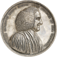 Lot 4374: GREAT BRITAIN. Silver medal 1789 by W. Mossop on the commencement of construction of the Armagh Observatory and its founder Archbishop Robinson. Very rare. Extremely fine. Estimate: 400,- euros. Hammer price: 5,500,- euros.