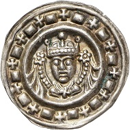 Lot 4104: Ulm. Frederick II,1212-1250. Bracteate, ca. 1235. Extremely fine. Estimate: 200 euros. Hammer price: 600 euros.