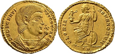 Lot 793: Roman Imperial Coins. Magnentius on behalf of Decentius. 2 Solidi Goldmedallion 352/353. Trier. Extremely fine. Estimate: 100,000 EUR. Hammer price: 240,000 EUR.