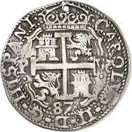 Lot 1747: Bolivia. Carlos III, 1665-1700. 8 reales 1687, Potosi. Yield from the mines at Potosi. Very rare. Holed, very fine. Estimate: 500 GBP. Hammer price: 8,000 GBP.