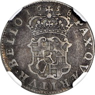 2462: Great Britain. 6 Pence Pattern Struck in Silver, 1658. Oliver Cromwell, Lord Protector (1653-58). NGC FINE-12. Relized: 44,650 USD.